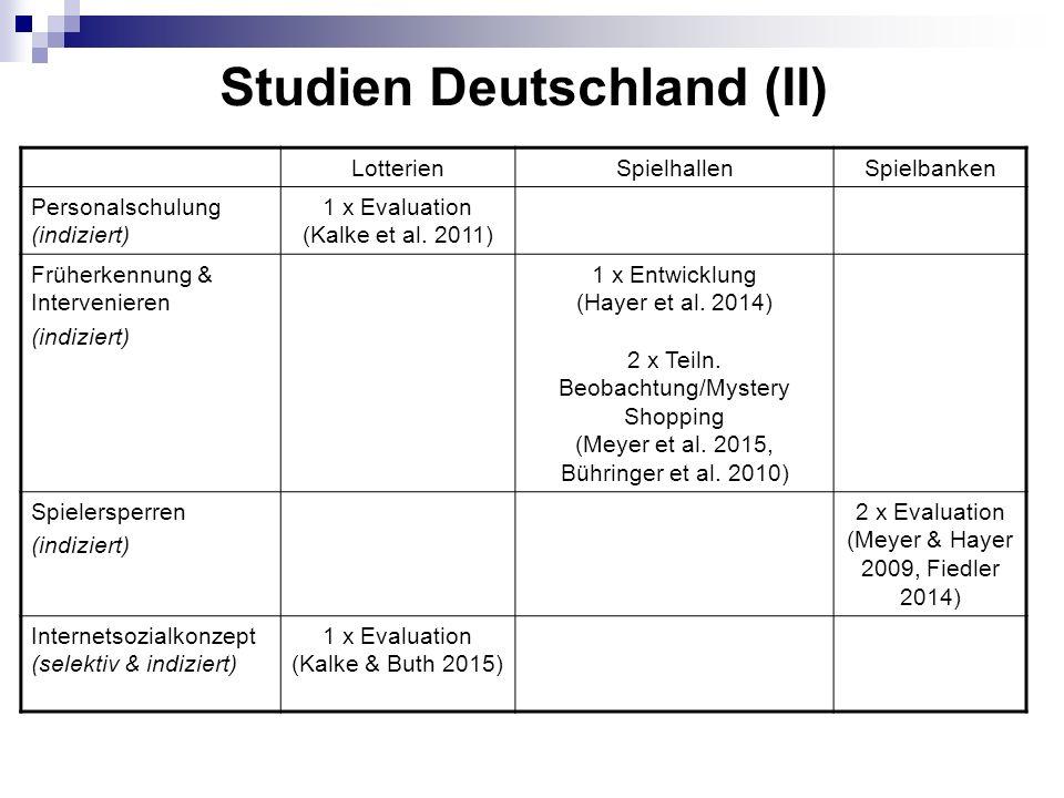 Studien Deutschland (II) LotterienSpielhallenSpielbanken Personalschulung (indiziert) 1 x Evaluation (Kalke et al.