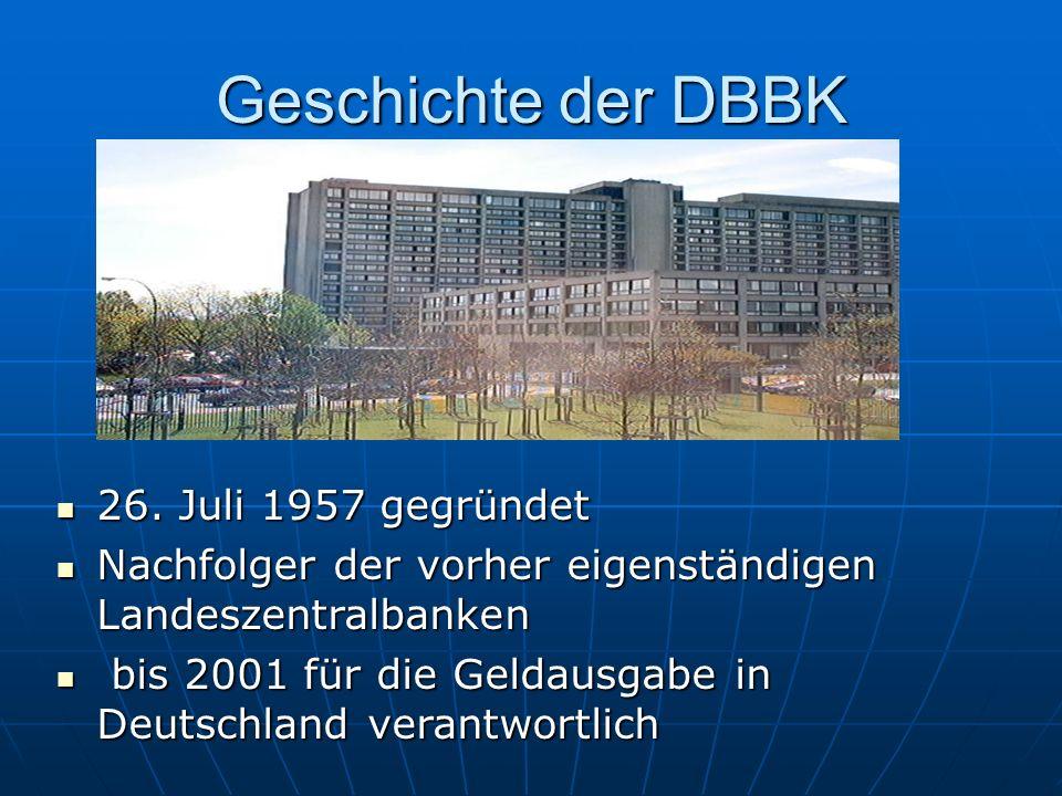 Geschichte der DBBK 26. Juli 1957 gegründet 26.