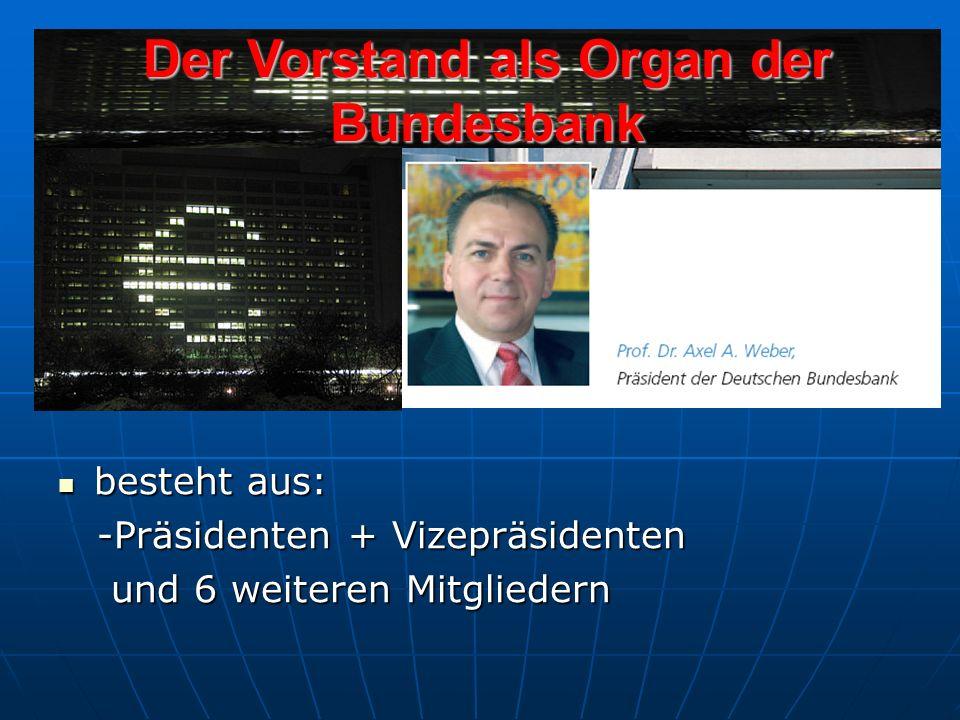 Der Vorstand als Organ der Bundesbank besteht aus: besteht aus: -Präsidenten + Vizepräsidenten -Präsidenten + Vizepräsidenten und 6 weiteren Mitgliedern und 6 weiteren Mitgliedern