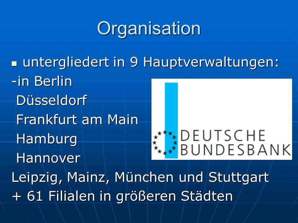 Organisation untergliedert in 9 Hauptverwaltungen: untergliedert in 9 Hauptverwaltungen: -in Berlin Düsseldorf Düsseldorf Frankfurt am Main Frankfurt am Main Hamburg Hamburg Hannover Hannover Leipzig, Mainz, München und Stuttgart + 61 Filialen in größeren Städten