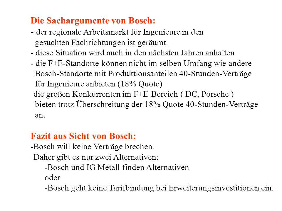 Die Sachargumente von Bosch: - der regionale Arbeitsmarkt für Ingenieure in den gesuchten Fachrichtungen ist geräumt.