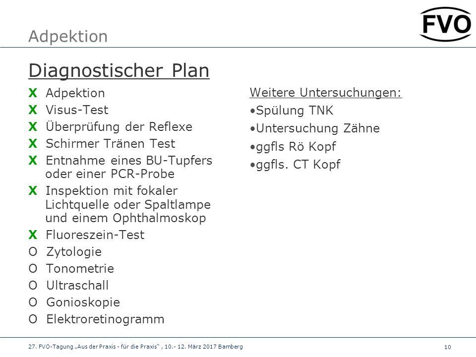 10 Adpektion Diagnostischer Plan X Adpektion X Visus-Test X Überprüfung der Reflexe X Schirmer Tränen Test X Entnahme eines BU-Tupfers oder einer PCR-
