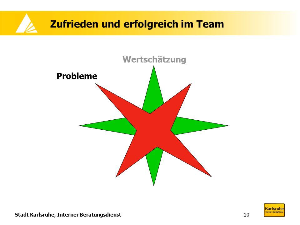 Stadt Karlsruhe, Interner Beratungsdienst10 Zufrieden und erfolgreich im Team Wertschätzung Probleme