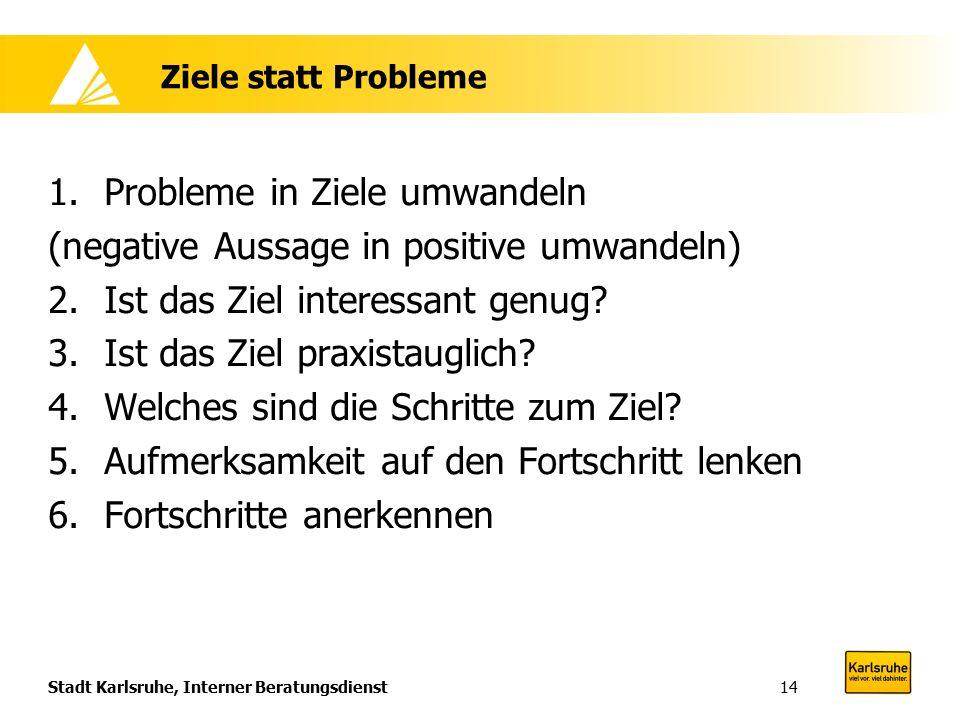 Stadt Karlsruhe, Interner Beratungsdienst14 Ziele statt Probleme 1.Probleme in Ziele umwandeln (negative Aussage in positive umwandeln) 2.Ist das Ziel interessant genug.