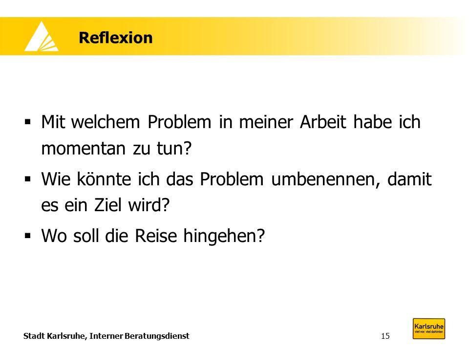 Stadt Karlsruhe, Interner Beratungsdienst15 Reflexion  Mit welchem Problem in meiner Arbeit habe ich momentan zu tun?  Wie könnte ich das Problem um
