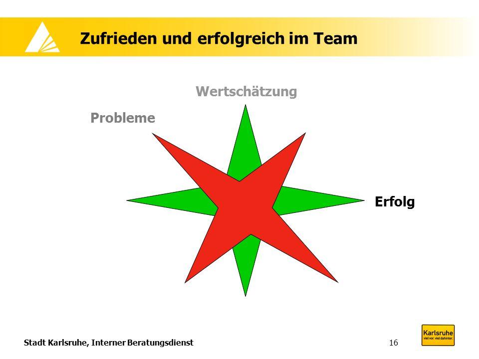Stadt Karlsruhe, Interner Beratungsdienst16 Zufrieden und erfolgreich im Team Wertschätzung Erfolg Probleme