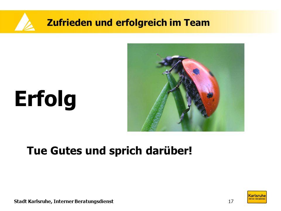 Stadt Karlsruhe, Interner Beratungsdienst17 Zufrieden und erfolgreich im Team Erfolg Tue Gutes und sprich darüber!