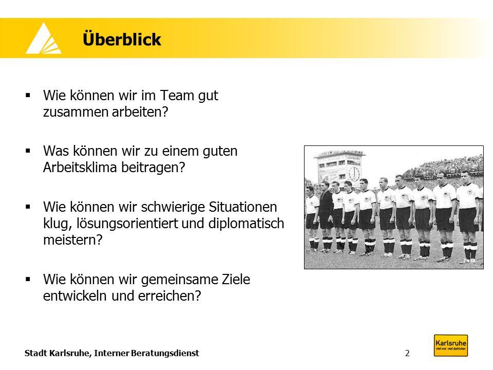 Stadt Karlsruhe, Interner Beratungsdienst2 Überblick  Wie können wir im Team gut zusammen arbeiten?  Was können wir zu einem guten Arbeitsklima beit
