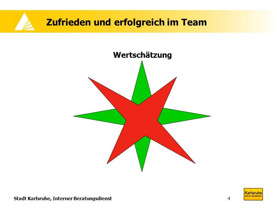 Stadt Karlsruhe, Interner Beratungsdienst4 Zufrieden und erfolgreich im Team Wertschätzung