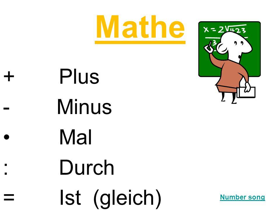 Mathe + Plus - Minus Mal : Durch = Ist (gleich) Number song