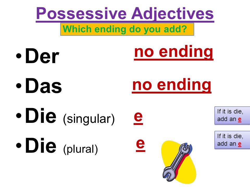 Possessive Adjectives mein/meine dein/deine 1._______ _________ 2.________________ 3.________________ 4.________________ If the noun is die, add an e mein dein meine deine meindein meine deine der die das die