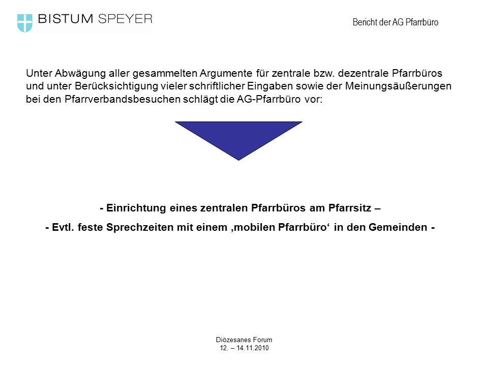 Diözesanes Forum 12. – 14.11.2010 Bericht der AG Pfarrbüro Unter Abwägung aller gesammelten Argumente für zentrale bzw. dezentrale Pfarrbüros und unte