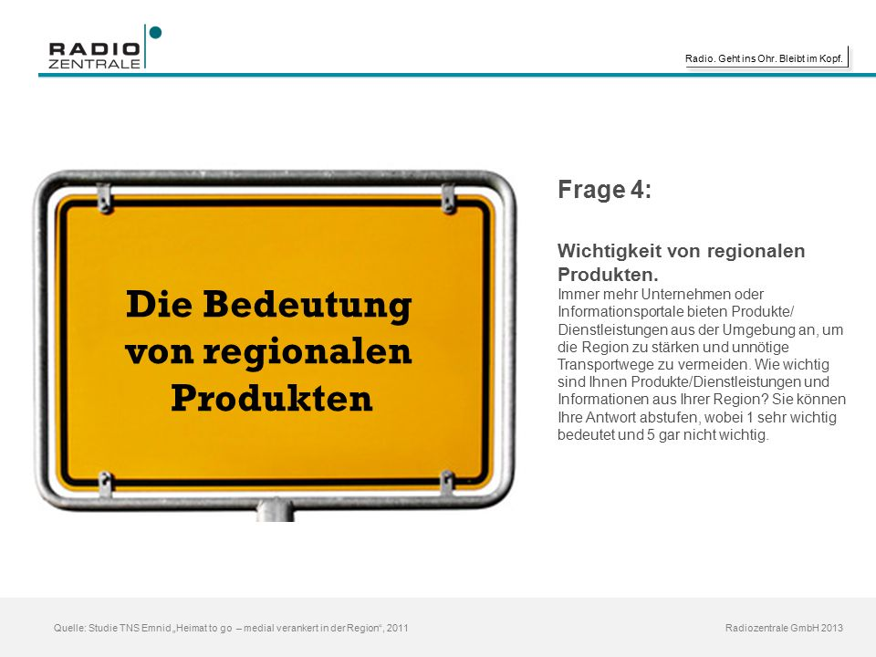 """Radio. Geht ins Ohr. Bleibt im Kopf. Radiozentrale GmbH 2013 Quelle: Studie TNS Emnid """"Heimat to go – medial verankert in der Region"""", 2011 Die Bedeut"""