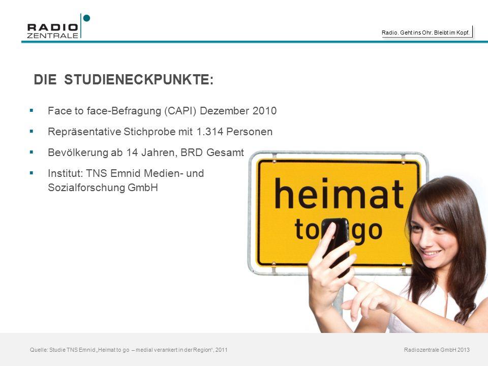 """Radio. Geht ins Ohr. Bleibt im Kopf. Radiozentrale GmbH 2013 Quelle: Studie TNS Emnid """"Heimat to go – medial verankert in der Region"""", 2011 DIE STUDIE"""