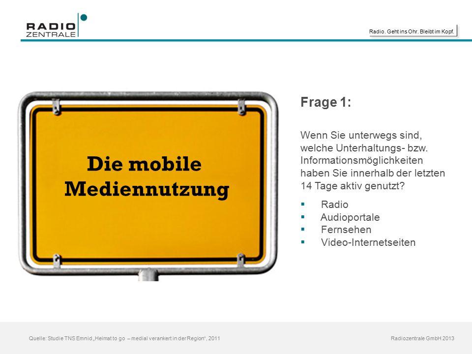 """Radio. Geht ins Ohr. Bleibt im Kopf. Radiozentrale GmbH 2013 Quelle: Studie TNS Emnid """"Heimat to go – medial verankert in der Region"""", 2011 Die mobile"""