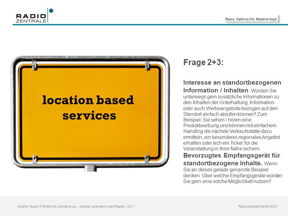 """Radio. Geht ins Ohr. Bleibt im Kopf. Radiozentrale GmbH 2013 Quelle: Studie TNS Emnid """"Heimat to go – medial verankert in der Region"""", 2011 location b"""