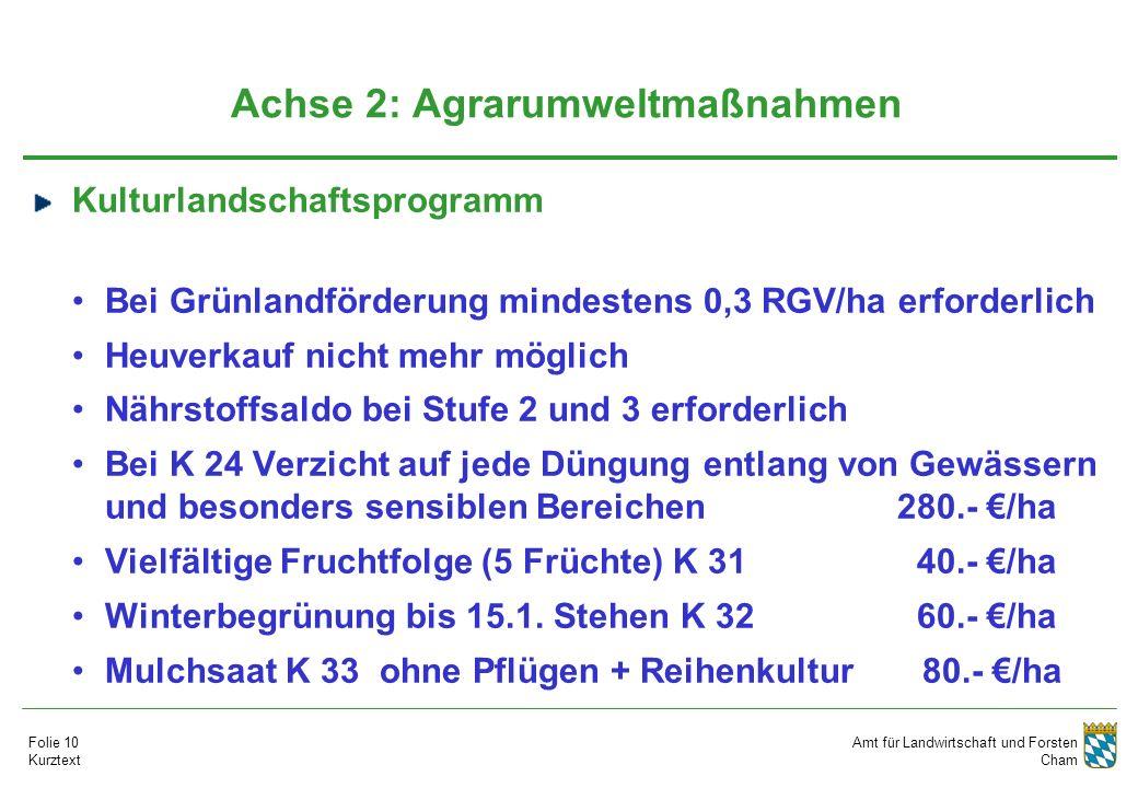 Amt für Landwirtschaft und Forsten Cham Folie 10 Kurztext Achse 2: Agrarumweltmaßnahmen Kulturlandschaftsprogramm Bei Grünlandförderung mindestens 0,3 RGV/ha erforderlich Heuverkauf nicht mehr möglich Nährstoffsaldo bei Stufe 2 und 3 erforderlich Bei K 24 Verzicht auf jede Düngung entlang von Gewässern und besonders sensiblen Bereichen 280.- €/ha Vielfältige Fruchtfolge (5 Früchte) K 31 40.- €/ha Winterbegrünung bis 15.1.