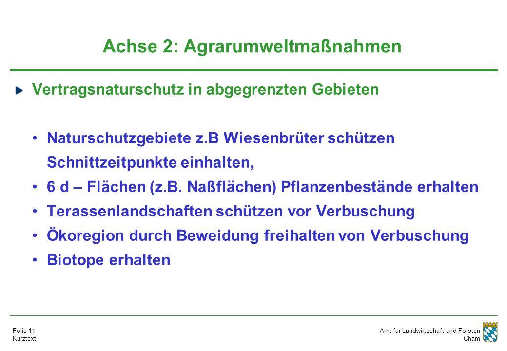 Amt für Landwirtschaft und Forsten Cham Folie 11 Kurztext Achse 2: Agrarumweltmaßnahmen Vertragsnaturschutz in abgegrenzten Gebieten Naturschutzgebiete z.B Wiesenbrüter schützen Schnittzeitpunkte einhalten, 6 d – Flächen (z.B.