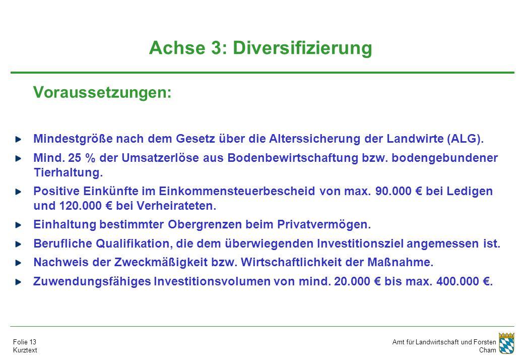 Amt für Landwirtschaft und Forsten Cham Folie 13 Kurztext Achse 3: Diversifizierung Voraussetzungen: Mindestgröße nach dem Gesetz über die Alterssicherung der Landwirte (ALG).