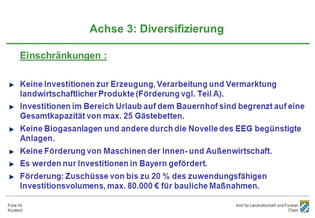 Amt für Landwirtschaft und Forsten Cham Folie 14 Kurztext Achse 3: Diversifizierung Einschränkungen : Keine Investitionen zur Erzeugung, Verarbeitung und Vermarktung landwirtschaftlicher Produkte (Förderung vgl.