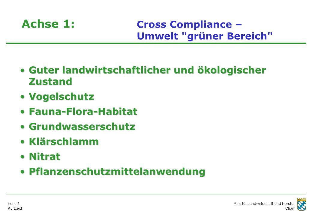 Amt für Landwirtschaft und Forsten Cham Folie 4 Kurztext Achse 1: Cross Compliance – Umwelt
