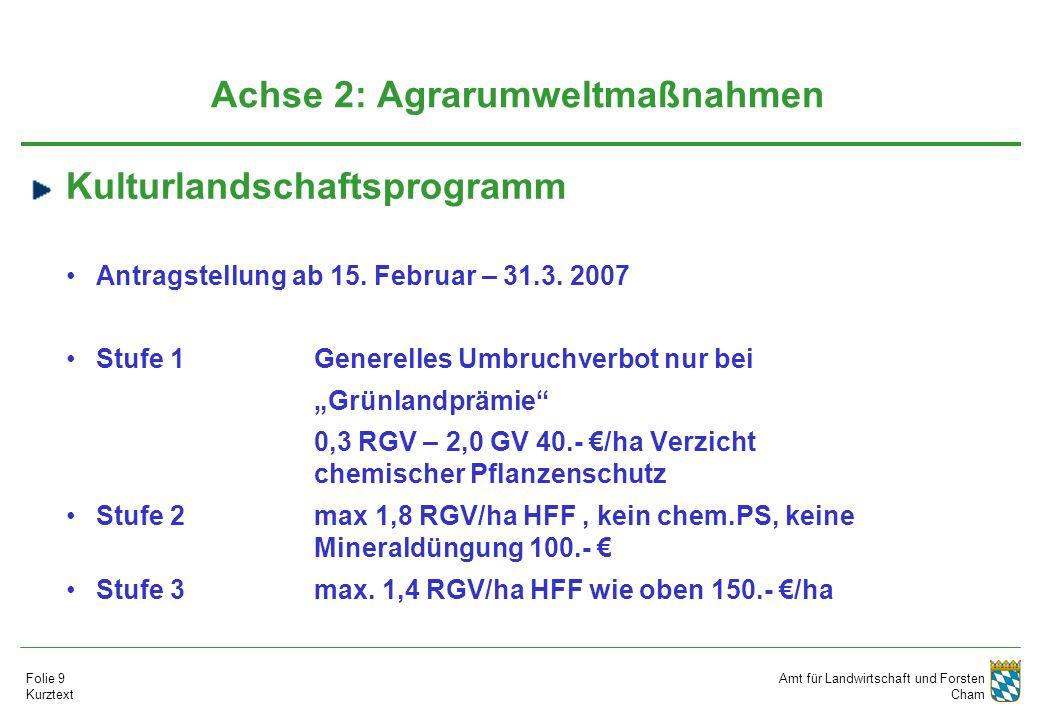 Amt für Landwirtschaft und Forsten Cham Folie 9 Kurztext Achse 2: Agrarumweltmaßnahmen Kulturlandschaftsprogramm Antragstellung ab 15. Februar – 31.3.