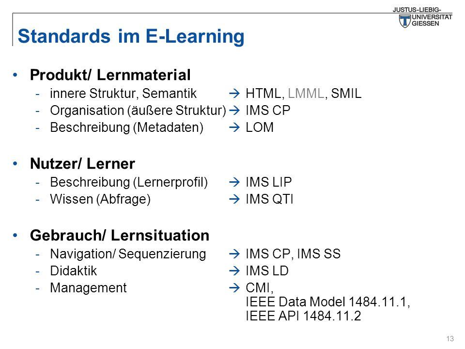 13 Standards im E-Learning  HTML, LMML, SMIL  IMS CP  LOM  IMS LIP  IMS QTI  IMS CP, IMS SS  IMS LD  CMI, IEEE Data Model 1484.11.1, IEEE API 1484.11.2 Produkt/ Lernmaterial -innere Struktur, Semantik -Organisation (äußere Struktur) -Beschreibung (Metadaten) Nutzer/ Lerner -Beschreibung (Lernerprofil) -Wissen (Abfrage) Gebrauch/ Lernsituation -Navigation/ Sequenzierung -Didaktik -Management