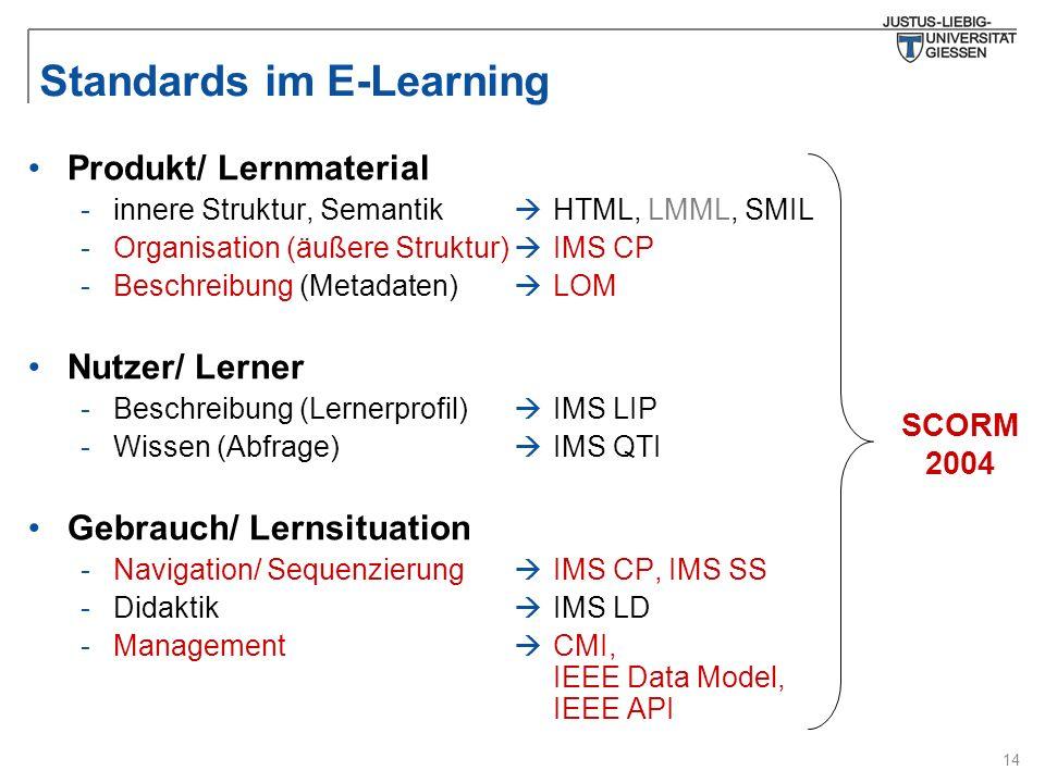 14 Standards im E-Learning  HTML, LMML, SMIL  IMS CP  LOM  IMS LIP  IMS QTI  IMS CP, IMS SS  IMS LD  CMI, IEEE Data Model, IEEE API Produkt/ Lernmaterial -innere Struktur, Semantik -Organisation (äußere Struktur) -Beschreibung (Metadaten) Nutzer/ Lerner -Beschreibung (Lernerprofil) -Wissen (Abfrage) Gebrauch/ Lernsituation -Navigation/ Sequenzierung -Didaktik -Management SCORM 2004