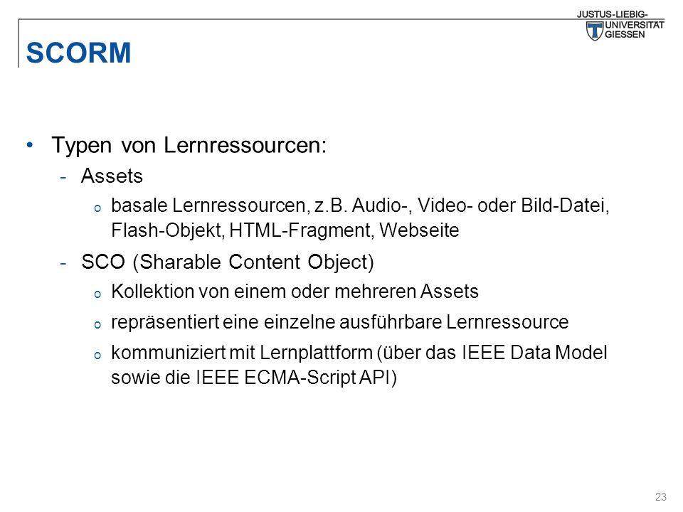 23 SCORM Typen von Lernressourcen: -Assets o basale Lernressourcen, z.B. Audio-, Video- oder Bild-Datei, Flash-Objekt, HTML-Fragment, Webseite -SCO (S
