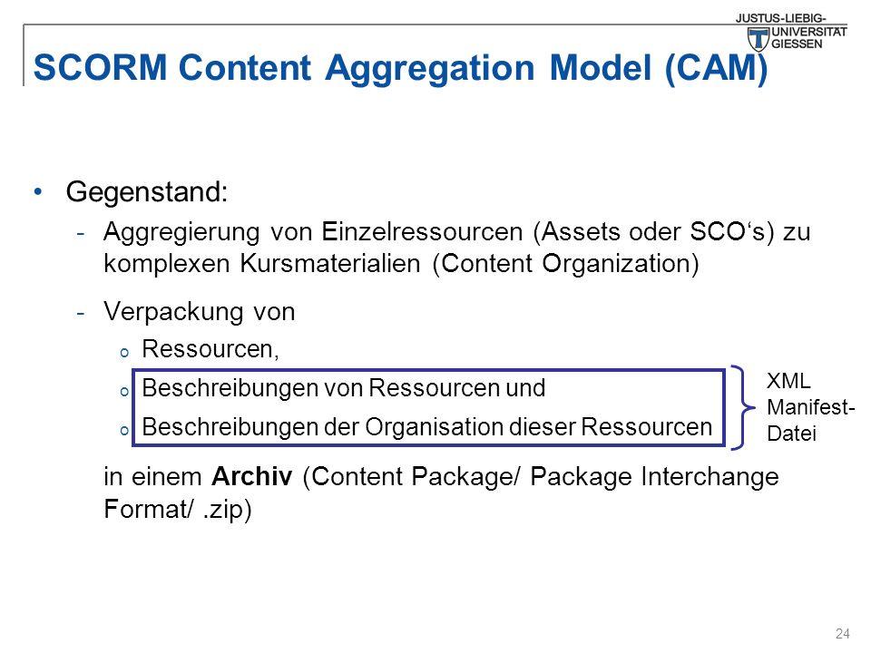 24 SCORM Content Aggregation Model (CAM) Gegenstand: -Aggregierung von Einzelressourcen (Assets oder SCO's) zu komplexen Kursmaterialien (Content Organization) -Verpackung von o Ressourcen, o Beschreibungen von Ressourcen und o Beschreibungen der Organisation dieser Ressourcen in einem Archiv (Content Package/ Package Interchange Format/.zip) XML Manifest- Datei