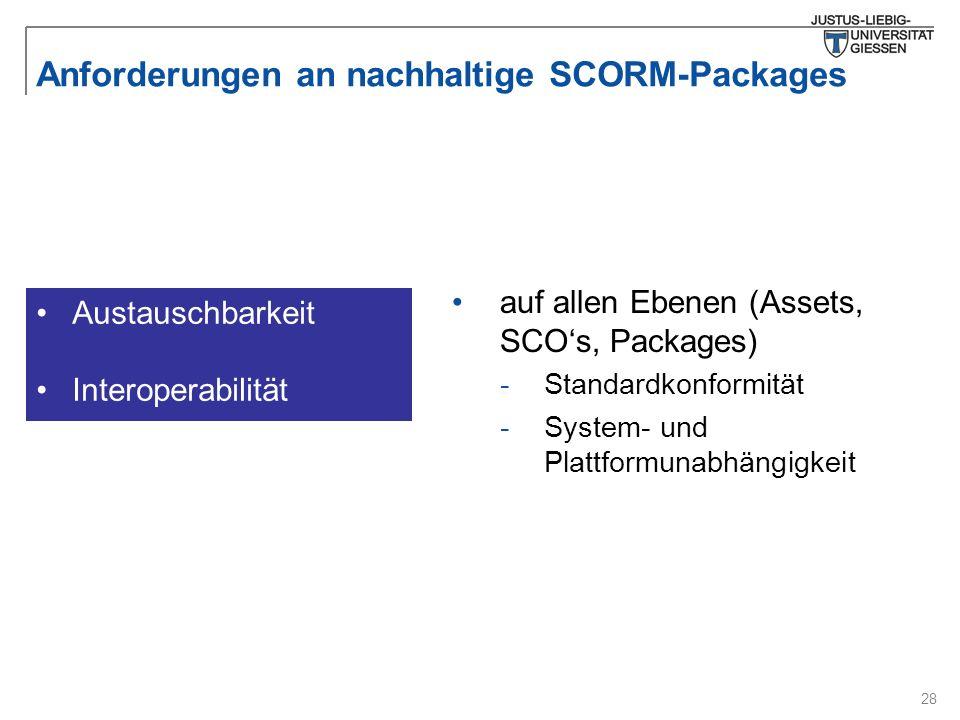 28 Anforderungen an nachhaltige SCORM-Packages Austauschbarkeit Interoperabilität auf allen Ebenen (Assets, SCO's, Packages) -Standardkonformität -Sys