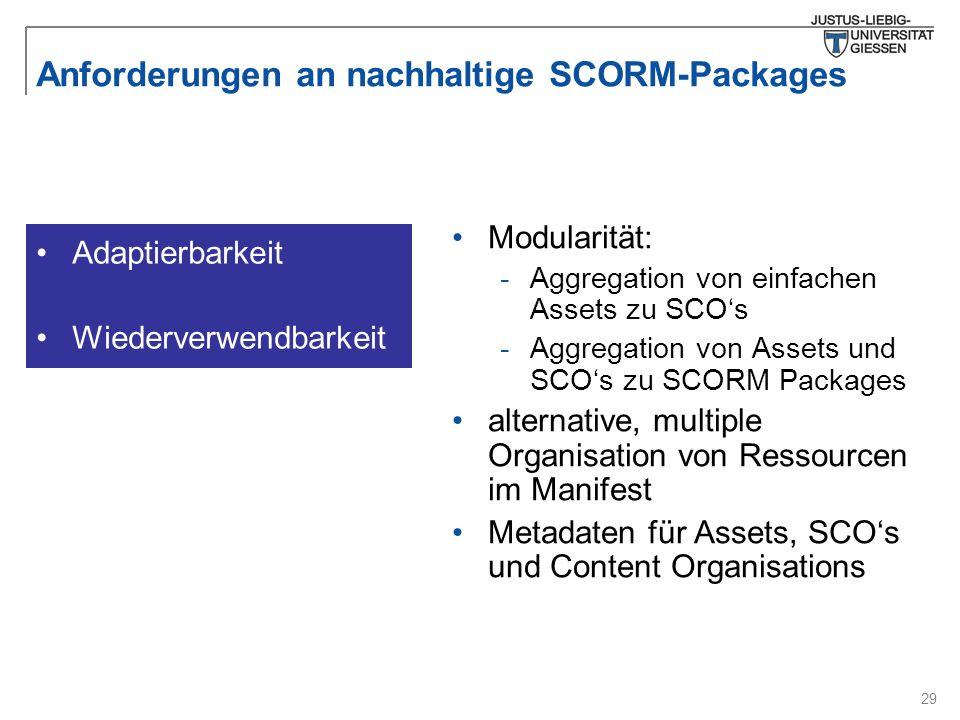29 Anforderungen an nachhaltige SCORM-Packages Modularität: -Aggregation von einfachen Assets zu SCO's -Aggregation von Assets und SCO's zu SCORM Packages alternative, multiple Organisation von Ressourcen im Manifest Metadaten für Assets, SCO's und Content Organisations Adaptierbarkeit Wiederverwendbarkeit
