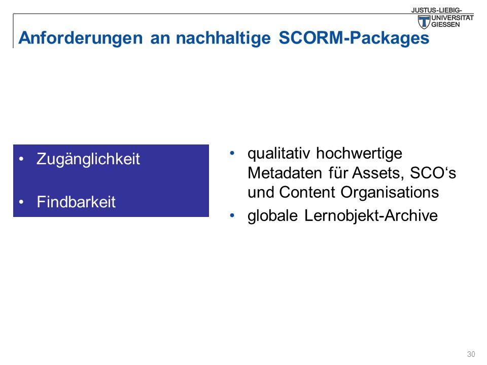 30 Anforderungen an nachhaltige SCORM-Packages qualitativ hochwertige Metadaten für Assets, SCO's und Content Organisations globale Lernobjekt-Archive Zugänglichkeit Findbarkeit