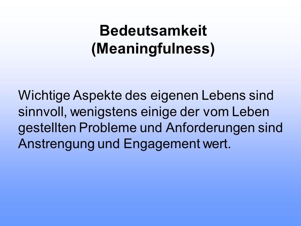 Erfahrungen, die das Kohärenzgefühl stärken Konsistenz (fördert vor allem Verstehbarkeit) Partizipation (fördert vor allem Bedeutsamkeit) Belastungsbalance (fördert vor allem Handhabbarkeit)