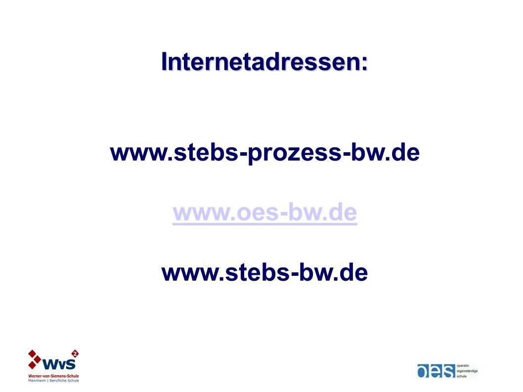 Internetadressen: www.stebs-prozess-bw.de www.oes-bw.de www.stebs-bw.de