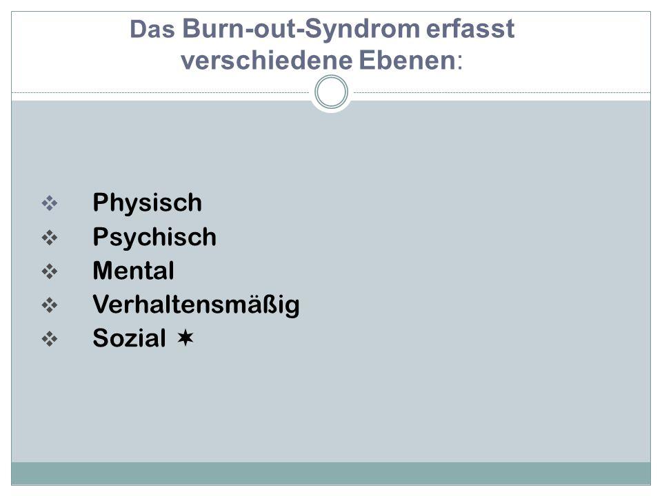  Physisch  Psychisch  Mental  Verhaltensmäßig  Sozial  Das Burn-out-Syndrom erfasst verschiedene Ebenen: