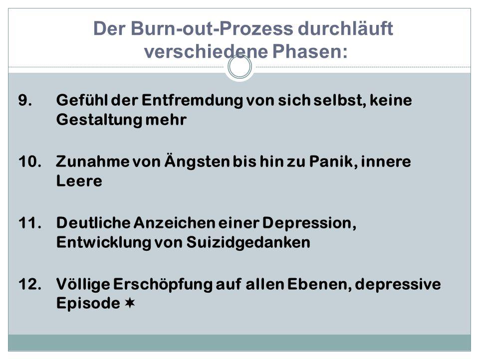 9.Gefühl der Entfremdung von sich selbst, keine Gestaltung mehr 10.Zunahme von Ängsten bis hin zu Panik, innere Leere 11.Deutliche Anzeichen einer Depression, Entwicklung von Suizidgedanken 12.Völlige Erschöpfung auf allen Ebenen, depressive Episode  Der Burn-out-Prozess durchläuft verschiedene Phasen: