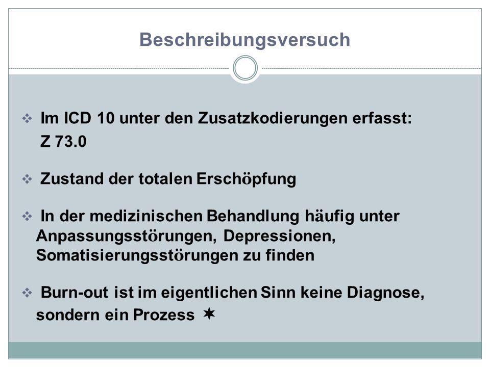 Beschreibungsversuch  Im ICD 10 unter den Zusatzkodierungen erfasst: Z 73.0  Zustand der totalen Ersch ö pfung  In der medizinischen Behandlung h ä ufig unter Anpassungsst ö rungen, Depressionen, Somatisierungsst ö rungen zu finden  Burn-out ist im eigentlichen Sinn keine Diagnose, sondern ein Prozess 
