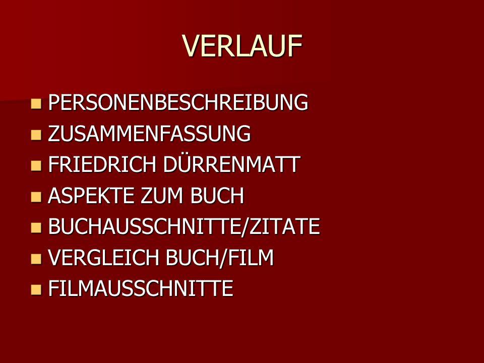 VERLAUF PERSONENBESCHREIBUNG PERSONENBESCHREIBUNG ZUSAMMENFASSUNG ZUSAMMENFASSUNG FRIEDRICH DÜRRENMATT FRIEDRICH DÜRRENMATT ASPEKTE ZUM BUCH ASPEKTE ZUM BUCH BUCHAUSSCHNITTE/ZITATE BUCHAUSSCHNITTE/ZITATE VERGLEICH BUCH/FILM VERGLEICH BUCH/FILM FILMAUSSCHNITTE FILMAUSSCHNITTE