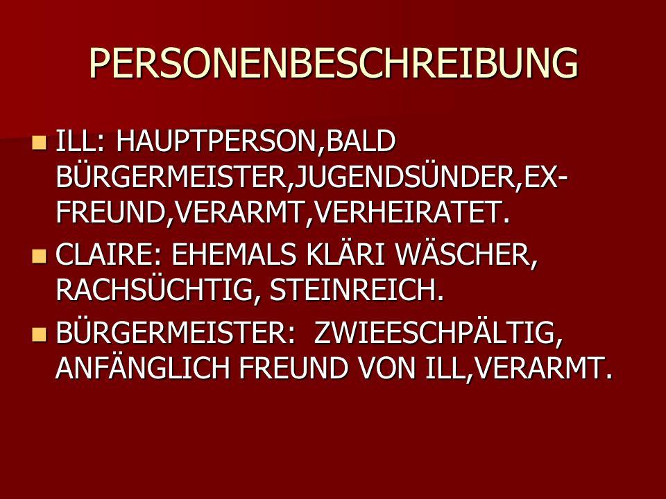 PERSONENBESCHREIBUNG ILL: HAUPTPERSON,BALD BÜRGERMEISTER,JUGENDSÜNDER,EX- FREUND,VERARMT,VERHEIRATET. ILL: HAUPTPERSON,BALD BÜRGERMEISTER,JUGENDSÜNDER