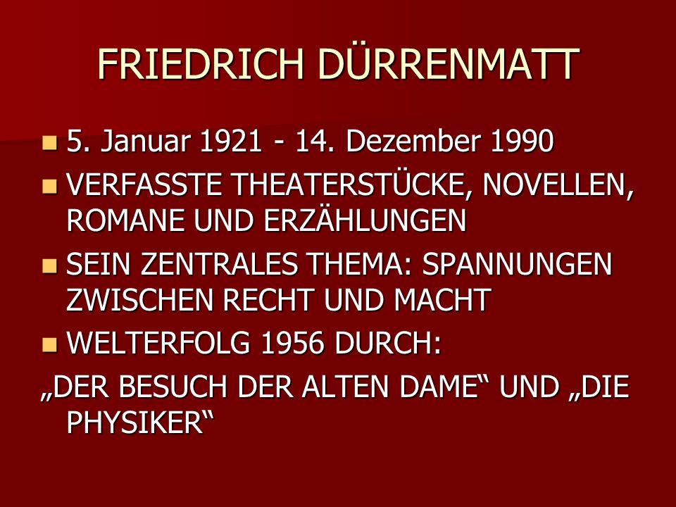 FRIEDRICH DÜRRENMATT 5. Januar 1921 - 14. Dezember 1990 5. Januar 1921 - 14. Dezember 1990 VERFASSTE THEATERSTÜCKE, NOVELLEN, ROMANE UND ERZÄHLUNGEN V