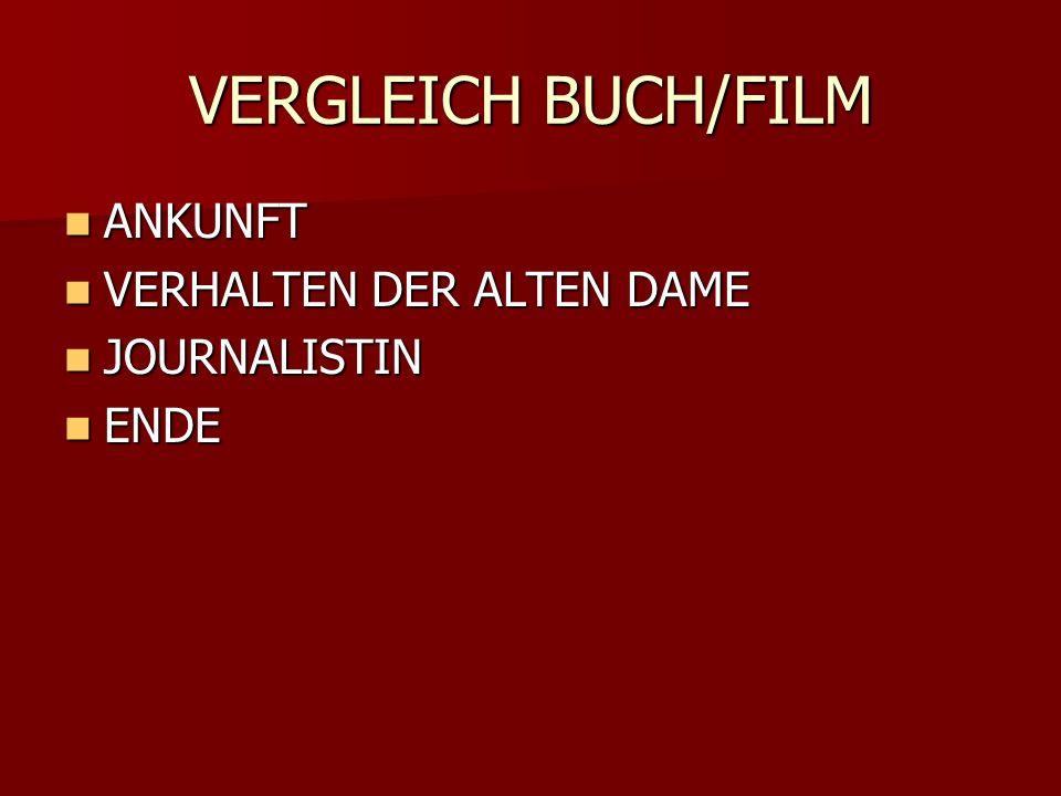 VERGLEICH BUCH/FILM ANKUNFT ANKUNFT VERHALTEN DER ALTEN DAME VERHALTEN DER ALTEN DAME JOURNALISTIN JOURNALISTIN ENDE ENDE