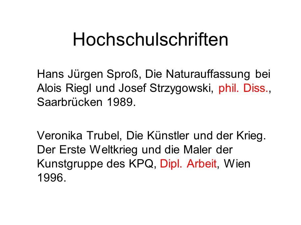 Hochschulschriften Hans Jürgen Sproß, Die Naturauffassung bei Alois Riegl und Josef Strzygowski, phil.