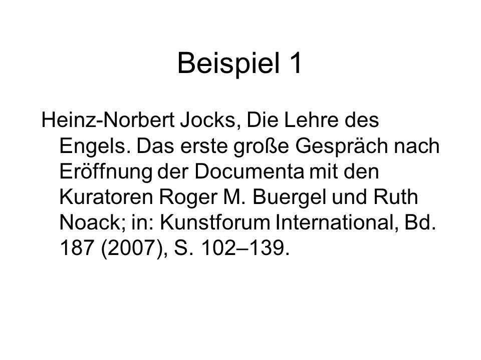 Beispiel 1 Heinz-Norbert Jocks, Die Lehre des Engels.