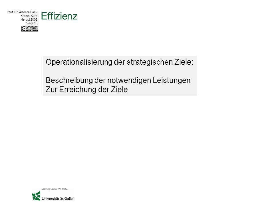 Prof. Dr. Andrea Back Krems-Kurs Herbst 2008 Seite 13 Effizienz Operationalisierung der strategischen Ziele: Beschreibung der notwendigen Leistungen Z