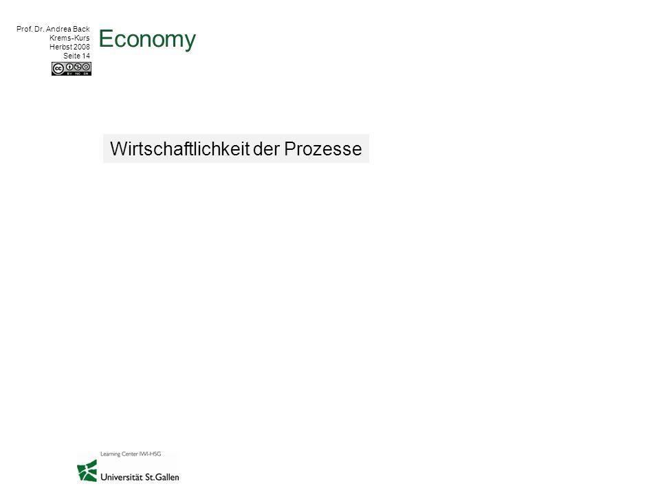 Prof. Dr. Andrea Back Krems-Kurs Herbst 2008 Seite 14 Economy Wirtschaftlichkeit der Prozesse