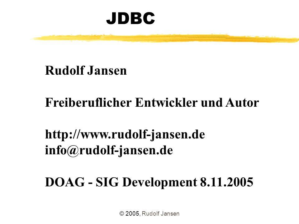 """© 2005, Rudolf Jansen Oracle 10g-JDBC-Treiber Neue Features : Connection Caching - Implicit Connection Cache - Fast Connection Failover JDBC 3.0-Support mit Ausnahme von - Verarbeitung automatisch erzeugter Schlüssel - Result-Set Holdability - Rückgabe mehrerer Result-Sets eines JDBC-Statements Verbesserung beim Einsatz des OCI-Treibers: - """"Instant Client -Paket - otn.oracle.com/tech/oci/instantclient/instantclient.html - Aufnahme der Dateien in den CLASSPATH genügt - keine Client-Installation mehr nötig"""