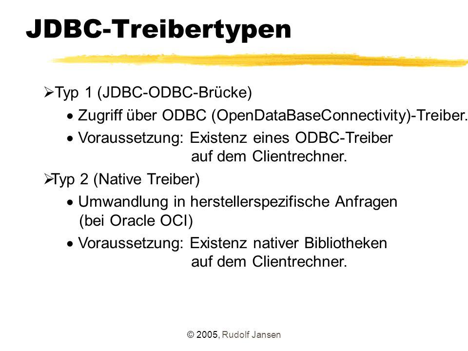 © 2005, Rudolf Jansen JDBC-Treibertypen  Typ 1 (JDBC-ODBC-Brücke)  Zugriff über ODBC (OpenDataBaseConnectivity)-Treiber.