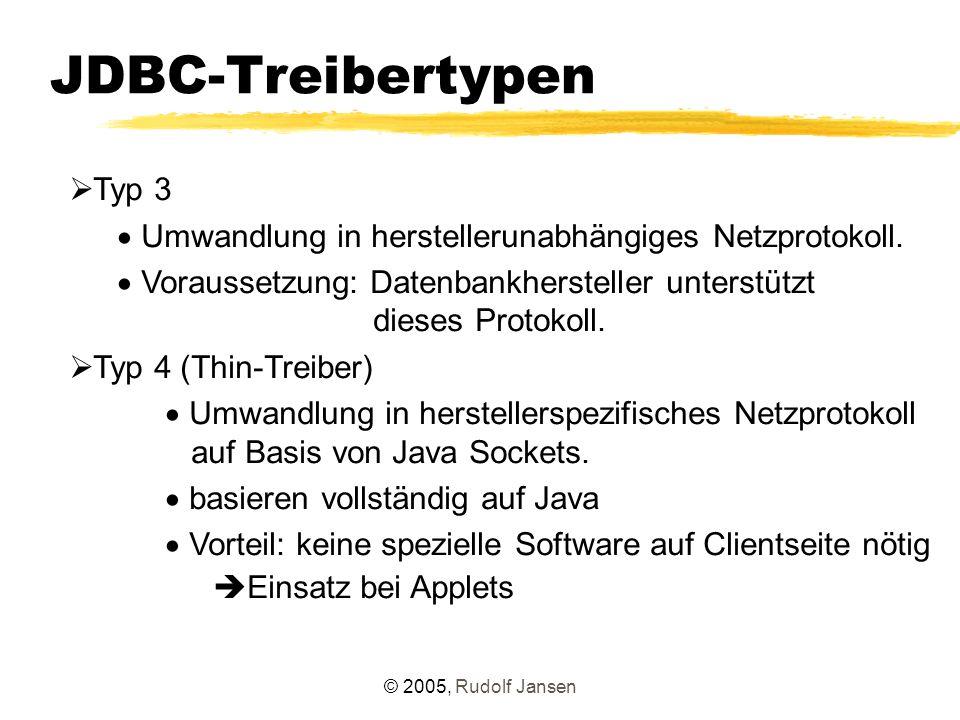 """© 2005, Rudolf Jansen JDBC 4.0 – Ziele  Anpassung an aktuellen SQL-Standard SQL 2003 (insbesondere XML-Anbindung)  Integration aktueller JSRs (RowSets)  """"Ease-Of-Development  """"Enterprise Needs  Java 1.5 – Features (Annotations, Generics)"""