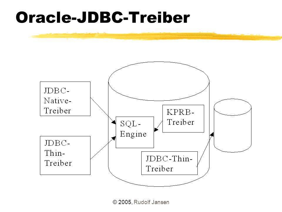 © 2005, Rudolf Jansen Oracle-JDBC-Treiber Thin versus OCI Vorteile OCI – höherer Funktionsumfang (insbesondere bei Einsatz spezieller Oracle-Features) – schneller (?) Nachteil OCI: – erfordert bis einschl.